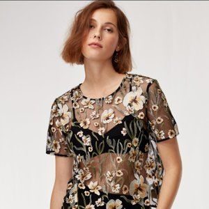 Aritzia Little Moon Mesh Floral Top